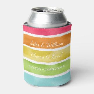 ストライプのな名前入りなビーチ結婚式のおもしろいのカラフル 缶クーラー
