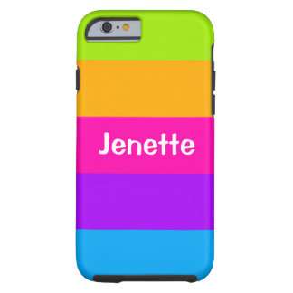 ストライプのな名前入りな一流の蛍光ネオン色 iPhone 6 タフケース