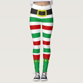 ストライプのな小妖精や小人の緑の赤いクリスマスのノベルティ レギンス