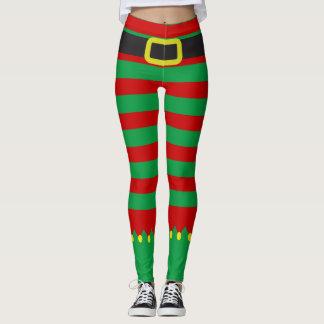 ストライプのな小妖精や小人の緑の赤いノベルティのクリスマス レギンス