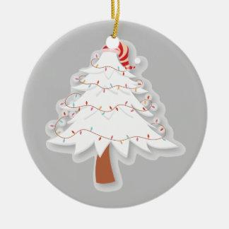 ストライプのな帽子-オーナメントが付いているホワイトクリスマスの木 セラミックオーナメント