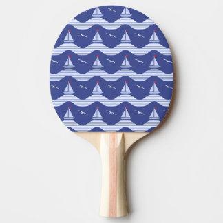 ストライプのな海パターンのヨット 卓球ラケット