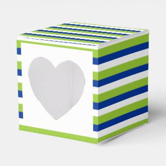 ストライプのな結婚式のカップケーキの青緑 フェイバーボックス