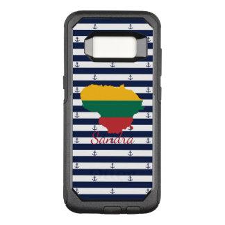 ストライプのな背景のリスアニアの旗か地図 オッターボックスコミューターSamsung GALAXY S8 ケース