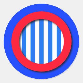 ストライプのな、白く赤い、点-および青のステッカー ラウンドシール
