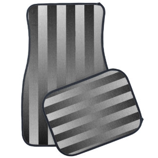 ストライプパターン黒い及び灰色の柔らかさ カーマット