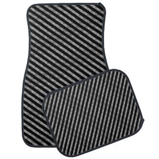 ストライプパターン黒及び銀 カーマット