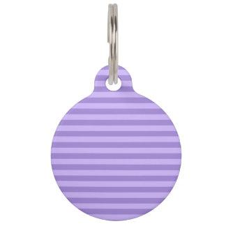 ストライプ-すみれ色および薄紫薄くして下さい ペット ネームタグ