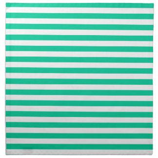 ストライプ-白いおよびカリブの緑薄くして下さい ナプキンクロス