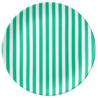 ストライプ-白いおよびカリブの緑薄くして下さい 磁器プレート