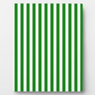 ストライプ-白および緑薄くして下さい フォトプラーク