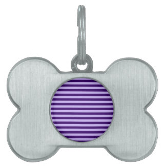ストライプ-薄紫および暗いバイオレット薄くして下さい ペットネームタグ