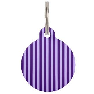 ストライプ-薄紫および暗いバイオレット薄くして下さい ペット ネームタグ