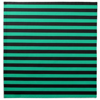 ストライプ-黒およびカリブの緑薄くして下さい ナプキンクロス