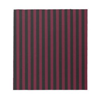 ストライプ-黒くおよび暗い深紅薄くして下さい ノートパッド