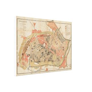 ストラスブールStrassburg 1880年の古い地図 キャンバスプリント
