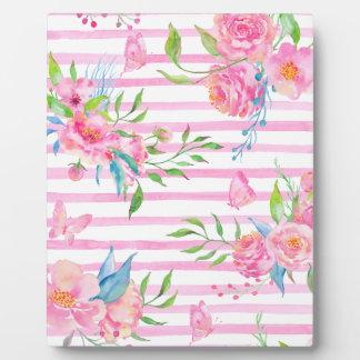ストリップが付いている水彩画のピンクの花パターン フォトプラーク