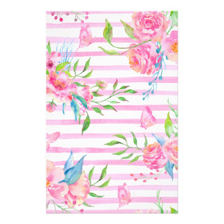 ストリップが付いている水彩画のピンクの花パターン 便箋