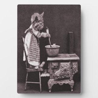 ストーブの子ネコの料理 フォトプラーク