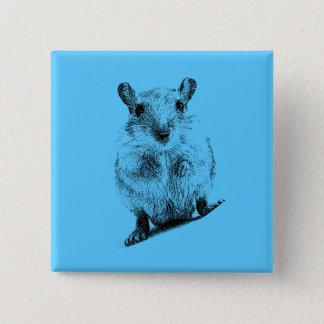 スナネズミの動物のベビーのイラストレーションペットスナネズミ 5.1CM 正方形バッジ