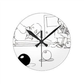 スヌーカーの漫画 ラウンド壁時計