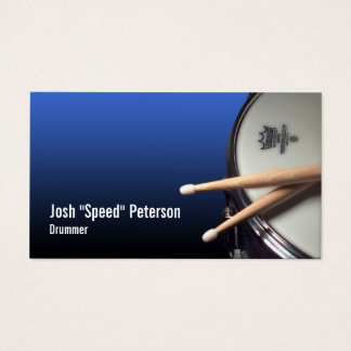 スネアドラムの青いドラマーのミュージシャンの名刺 名刺