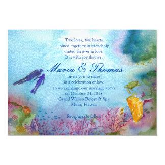 スノーケルのカップルの招待状 カード