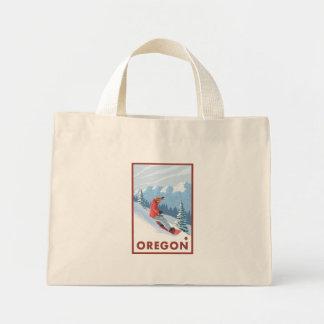 スノーボーダー場面-オレゴン ミニトートバッグ