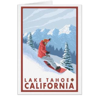 スノーボーダー場面-タホ湖、カリフォルニア カード