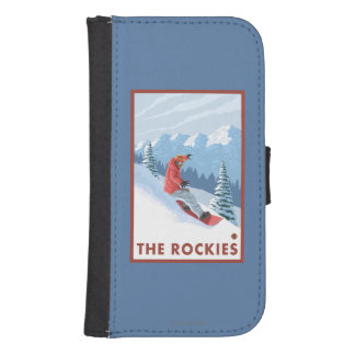 スノーボーダー場面-ロッキー山脈 ウォレットケース