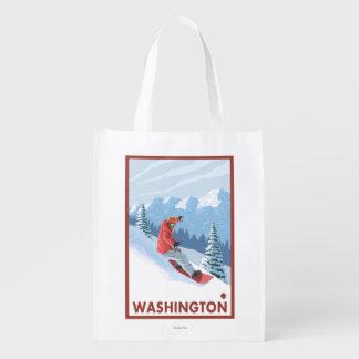 スノーボーダー場面-ワシントン州 エコバッグ