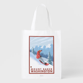 スノーボーダー場面-ワシントン州、山のパン屋 エコバッグ