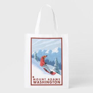 スノーボーダー場面-山アダムス、ワシントン州 エコバッグ