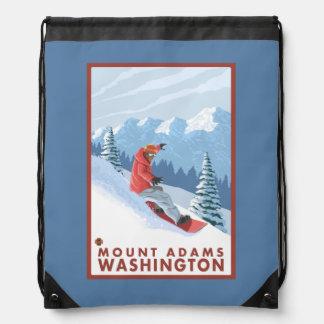 スノーボーダー場面-山アダムス、ワシントン州 ナップサック