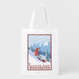 スノーボーダー場面-氷河ピーク、ワシントン州 エコバッグ