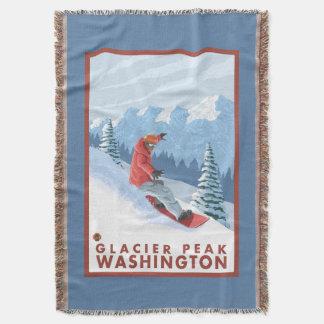 スノーボーダー場面-氷河ピーク、ワシントン州 スローブランケット