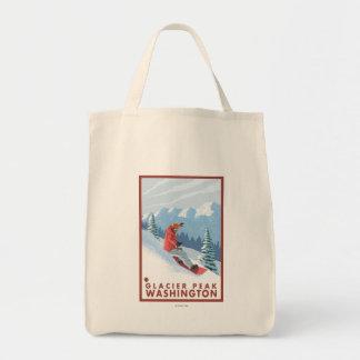 スノーボーダー場面-氷河ピーク、ワシントン州 トートバッグ