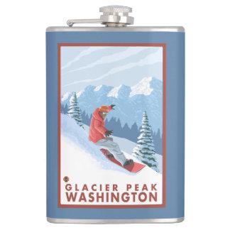 スノーボーダー場面-氷河ピーク、ワシントン州 フラスク