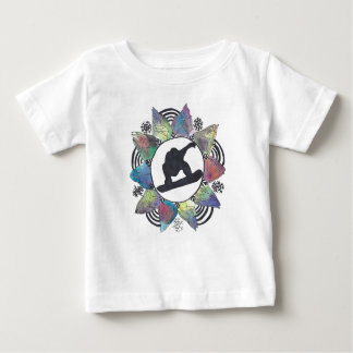 スノーボーダー山の花 ベビーTシャツ