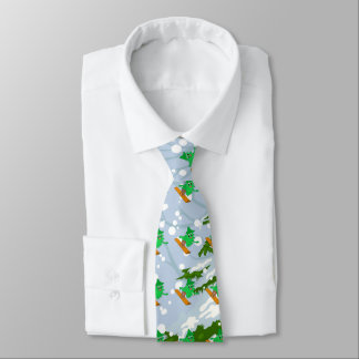 スノーボードのクリスマスツリー ネクタイ