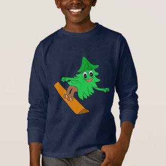 スノーボードのクリスマスツリー Tシャツ