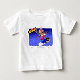 スノーボードのヒップホップの漫画の女の子 ベビーTシャツ