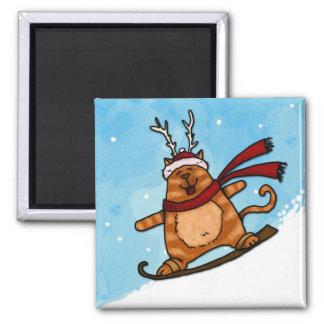 スノーボードの子猫 マグネット