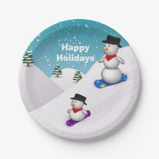 スノーボードの雪だるまの幸せな休日-紙皿 ペーパープレート