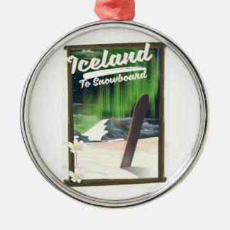 スノーボードへのアイスランド メタルオーナメント