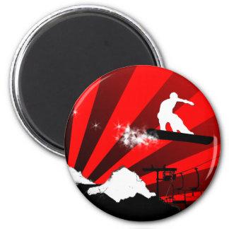 スノーボード。 赤い光線 マグネット