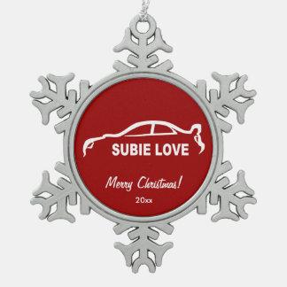 スバル・インプレッサWRX STI Subbie愛シルエット スノーフレークピューターオーナメント