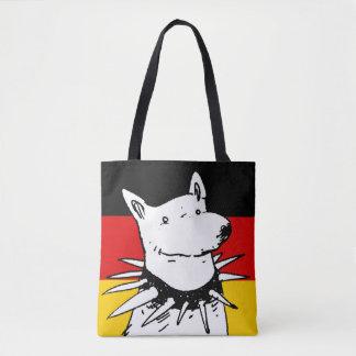 スパイクつばを持つドイツ旗そして白い犬 トートバッグ