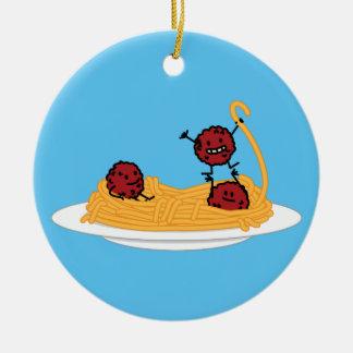 スパゲッティおよびミートボールのパスタのヌードルのイタリア人の食糧 セラミックオーナメント