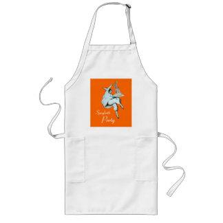 スパゲッティは、イタリアンな台所、オレンジレストランパーティを楽しみます ロングエプロン